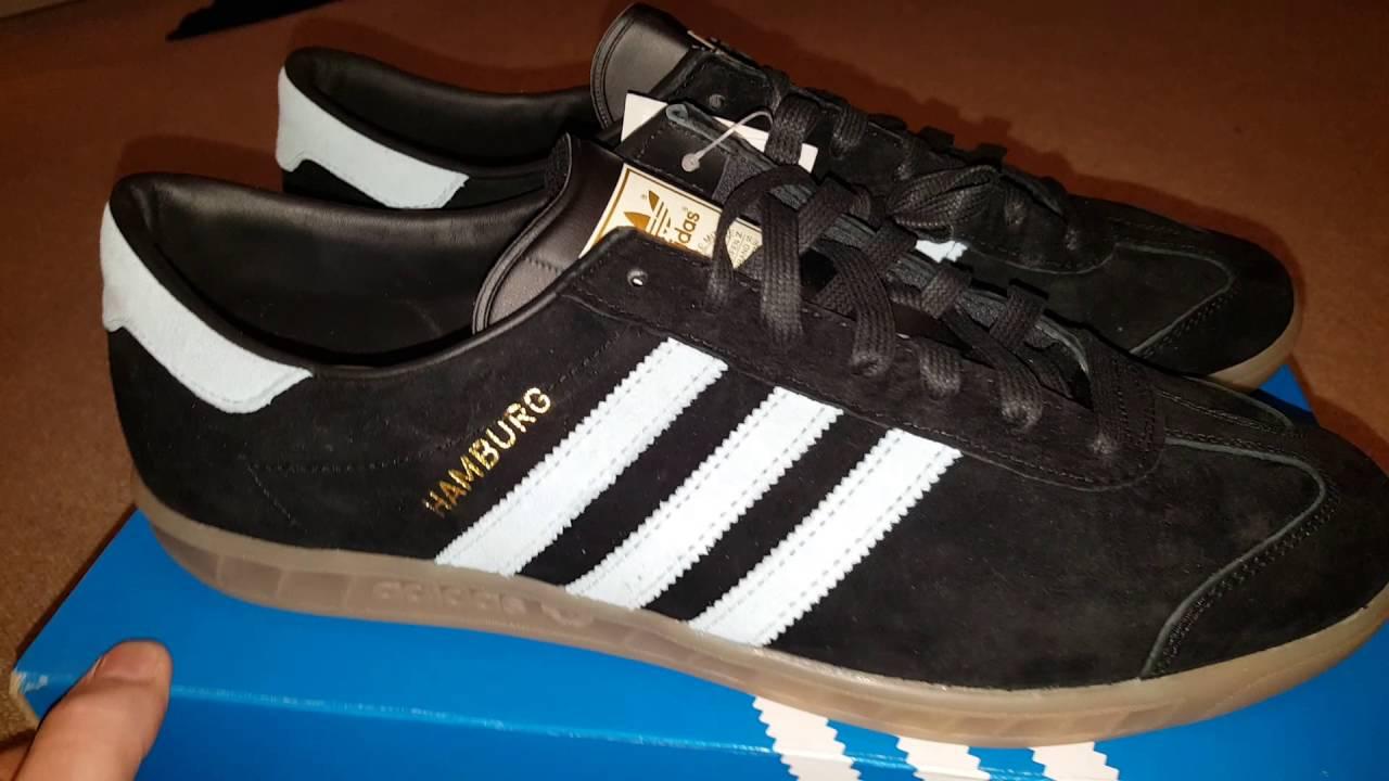Adidas Hamburg in Black with Blush Blue stripes