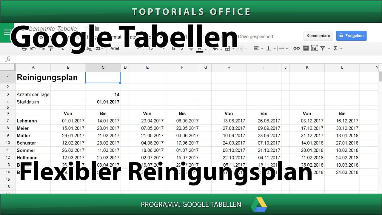 Flexiblen Reinigungsplan / Putzplan erstellen (Google Tabellen ...