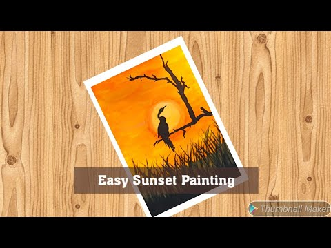 Easy sunset painting || Beautiful sunset drawing for kids || landscape drawing || Enjoy Arts 1M