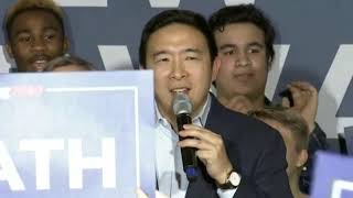 ANDREW YANG SUSPENDS 2020 campaign amidst New Hampshire results, supporters chant '2024!'