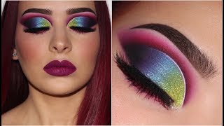 Vibrant Multicoloured Glitter Cut Crease | Makeup Tutorial
