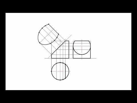 Построение усеченного цилиндра с сечением в натуральную величину