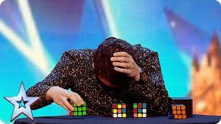 Watch Flavian solve three Rubik's Cubes…BLINDFOLDED!  | Britain's Got More Talent 2016 thumbnail