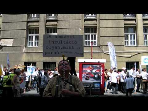 Pedagógus Tüntetés Polgár Sándor a készítő is táblával tüntet  06 03 Vid35