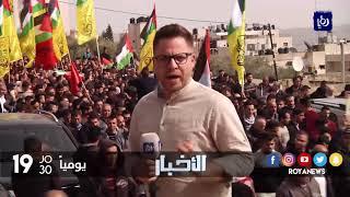 الفلسطينيون يشيعون جثمان الشهيد خالد تايه البالغ إلى مثواه الأخير في نابلس - (7-2-2018)