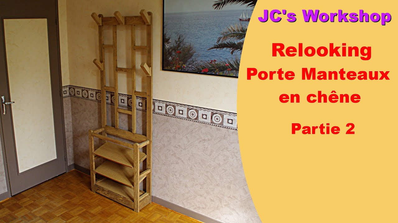 comment relooker un porte manteaux en ch ne 2 2 travail du bois 9 youtube. Black Bedroom Furniture Sets. Home Design Ideas