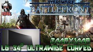 "STAR WARS: BATTLEFRONT PC  3440X1440  (LG 34"" ULTRAWIDE CURVED) ENDOR CHASE!"
