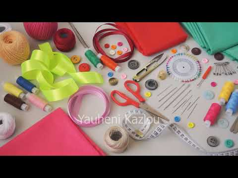 Sewing supplies and accessories for needlework - Royalty Free Stock Video Clips