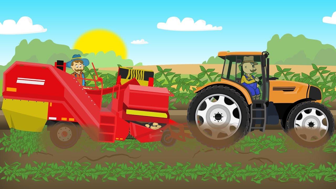 Tractor Cartoon Picker : Farm work growing potatoes fairy tractor for kids