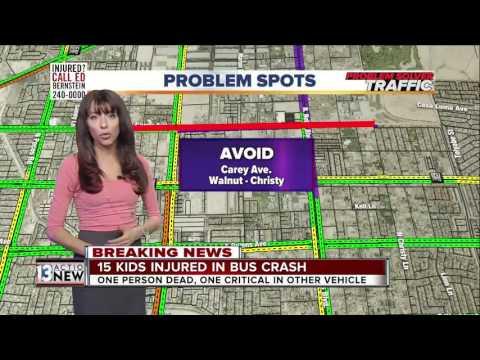 Traffic and road closures near school bus crash on Nellis