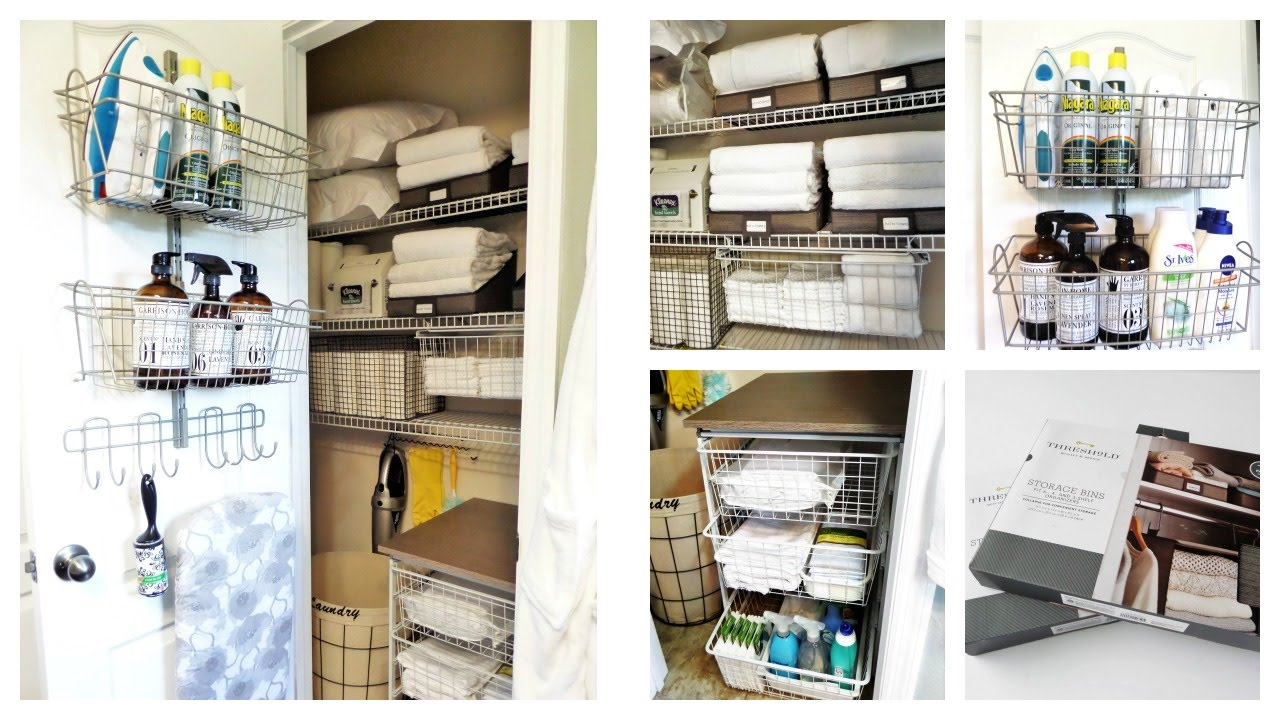 linen closet organization ideas | dollar tree + target + marshalls