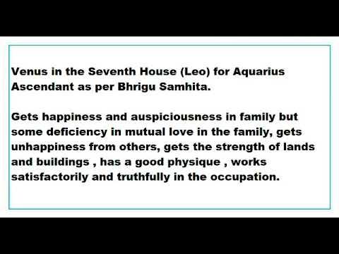 Venus In 7th House For Aquarius Ascendant