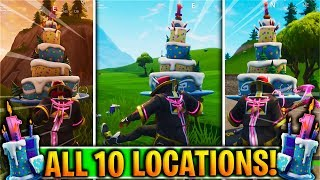 """Fortnite """"Dance in front of Different Birthday Cakes"""" LOCATIONS! (Fortnite Birthday Challenges)"""