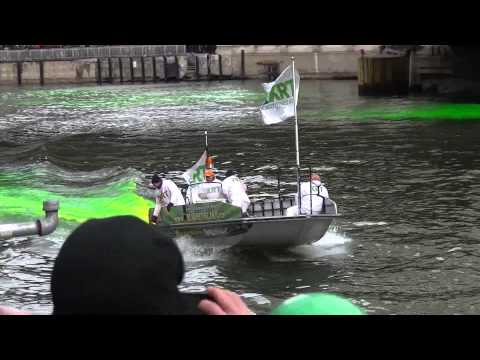 Dyeing Chicago River Green on St. Patrick