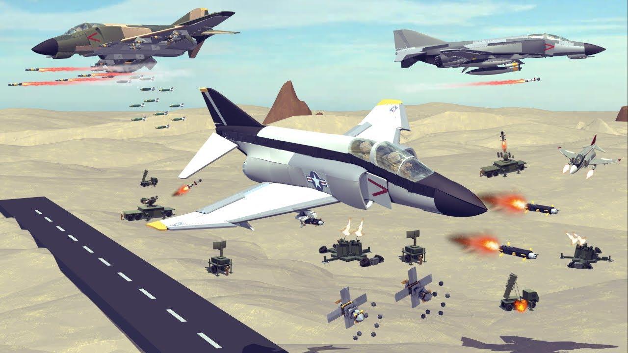 My Newly Built F-4 Phantom II vs Anti-Air Ground Installations | Besiege