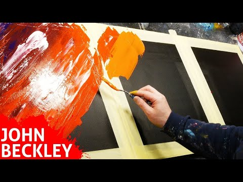 Abstract Painting Demonstration With Masking Tape And Palette Knife | Vegas