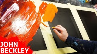 Abstract Painting demonstration with masking tape and palette knife   Vegas