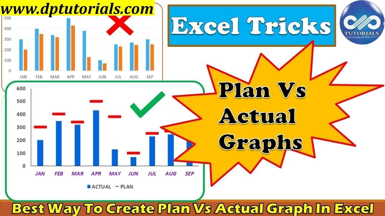 Excel tricks best way to create plan vs actual graph in tips dptutorials also rh youtube