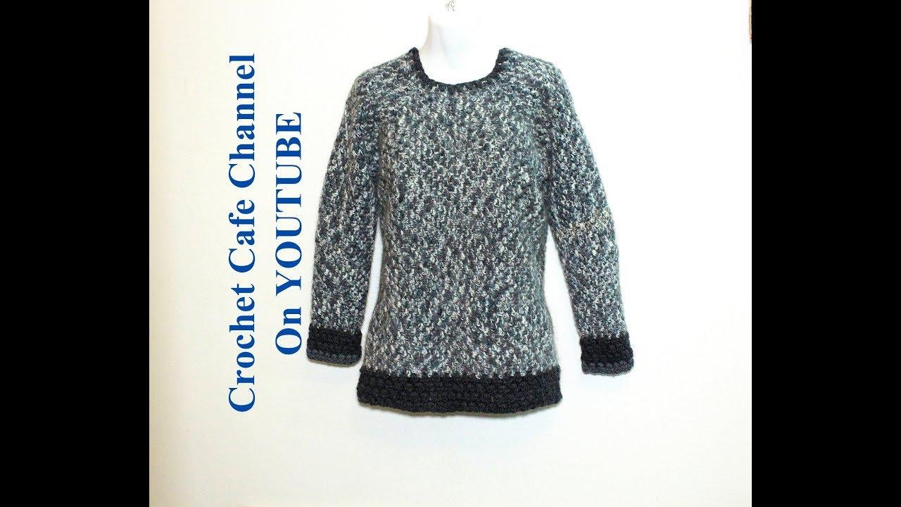 6e921aaab كروشيه بلوزة شتوي سهلة بغرزة الجرانى | قناة كروشيه كافيه Crochet Cafe  Channel