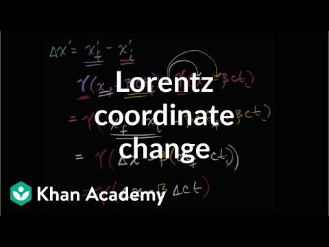 Lorentz transformation for change in coordinates | Physics | Khan Academy
