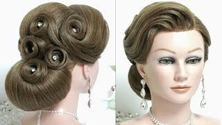 Bridal hairstyle for long hair tutorial. Prom wedding updo