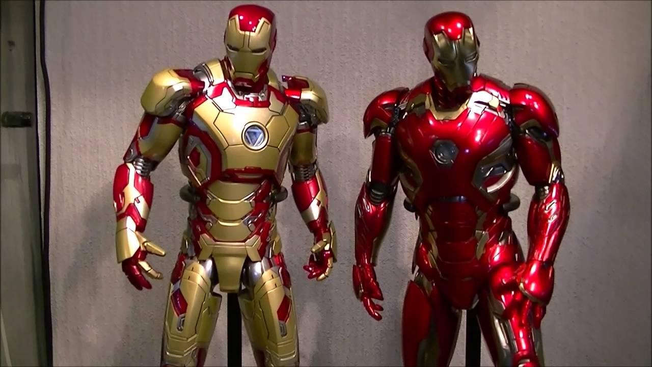 hot toys iron man mark 45 amp mark 42 comparison youtube