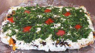 """Салат """"Сказочная Поляна"""" с фасолью, сыром и помидорами - вегетарианский рецепт"""