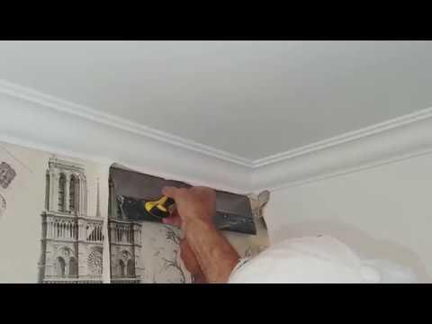 Как ровно обрезать обои у потолочного плинтуса (багета)
