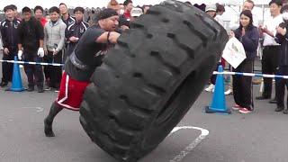 ストロングマンチャレンジ2015岡山 Strongman Challenge Tire Flip 20151101 強壯的男人