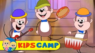 Five Little Monkeys Jumping On The Bed | Nursery Rhymes | 60 Minutes Compilation From Kidscamp