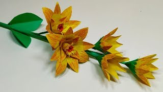 Flower Making: How to Make A Easy Beautiful Paper Stick Flower | Handcraft | Abigail Paper Crafts