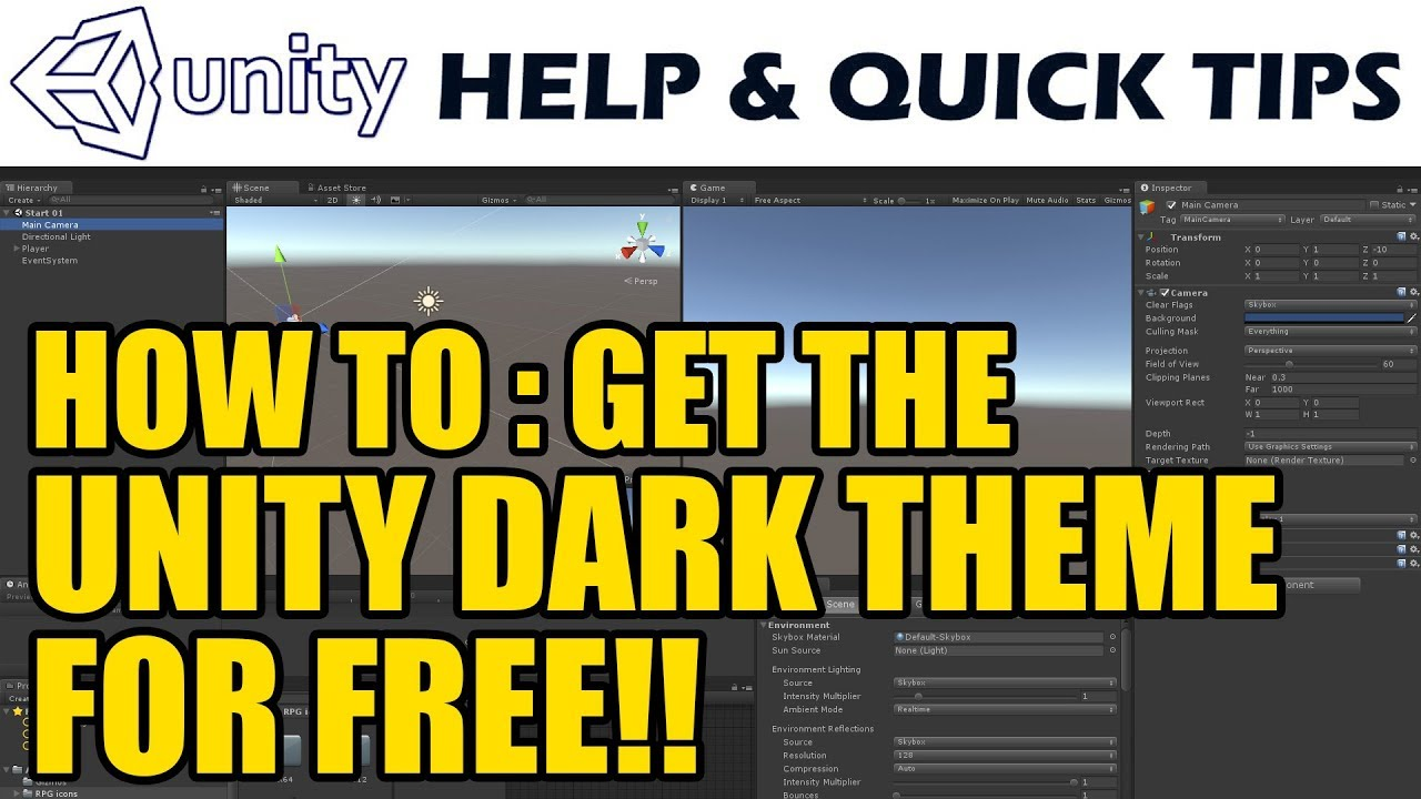 Unity Tips - How to Get the Dark Theme in Unity for Free!