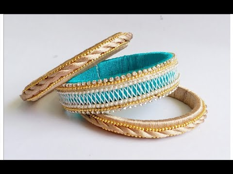 How to make silk thread bangles at home//diy silk thread bangles new model