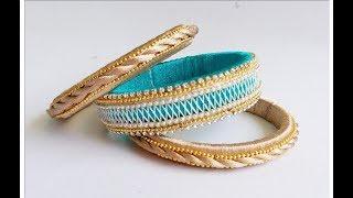 How to make silk thread bangles at home//diy silk thread bangles new model
