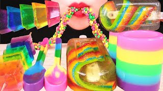 RAINBOW FOOD ASMR MOST POPULAR FOOD: GUMMY CANDY POPSICLE, NERDS ROPE, EDIBLE SPOONS, JELLO CUP 咀嚼音