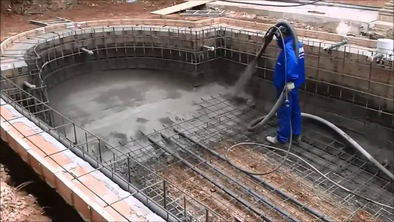 Gunitado piscina video 2 youtube Construir una pileta de ladrillos