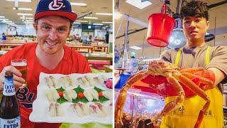 The Biggest Korean Fish and Seafood Market in Busan, Korea   Eating Raw Fish at Jagalchi c
