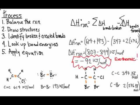 Using Bond Energies To Calculate Heatsenthalpy Of Reactions Youtube