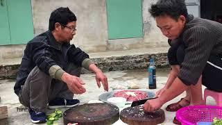 Nem thịt Lợn sống, lòng lợn, tiết canh ăn tất niên 29 tháng chạp | Hinh Pie
