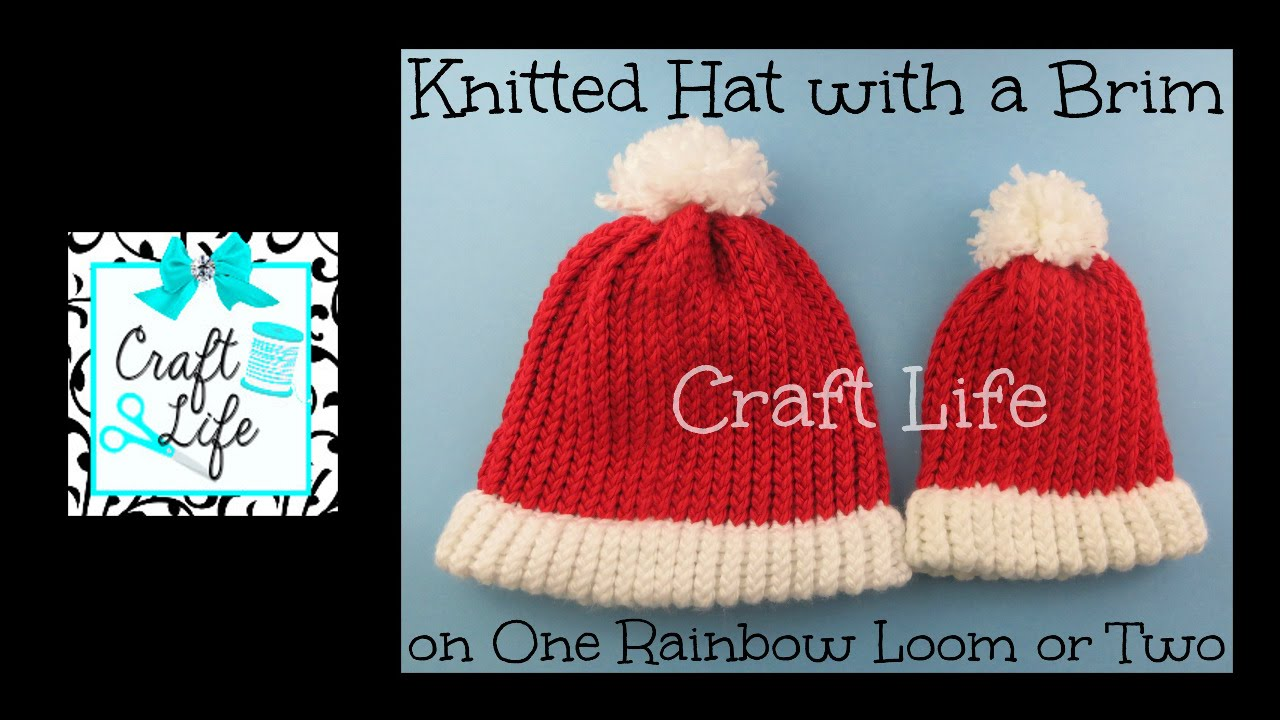 Craft Life Knitted Hat with Brim ~ Santa Hat tutorial on One Rainbow ...