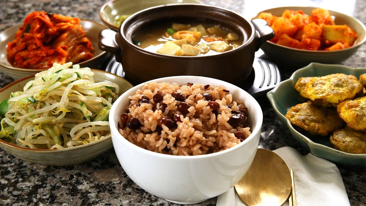 Korean red bean rice and side dishes youtube - Six alternative uses of rice at home ...