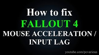 How to fix FALLOUT 4 Mouse Acceleration Input lag