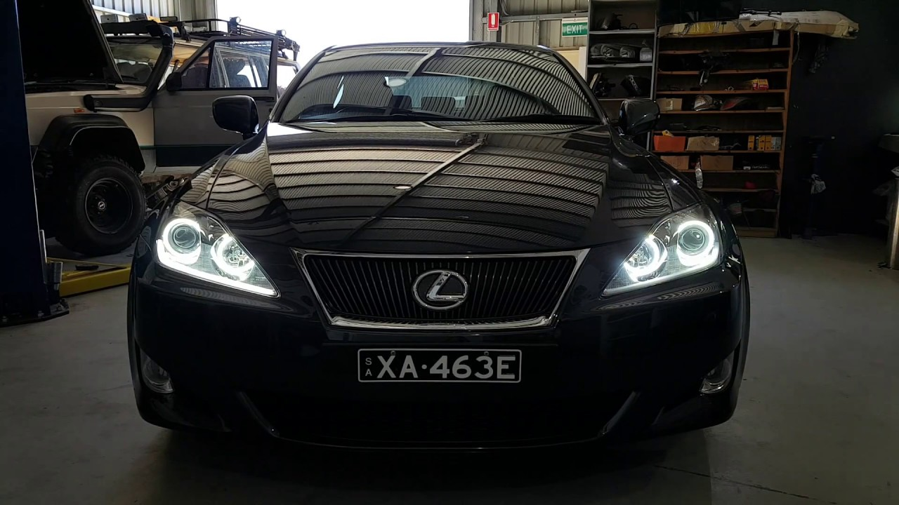 Lexus IS250 white/amber LED halo rings sequential LED strips HIDs LEDs