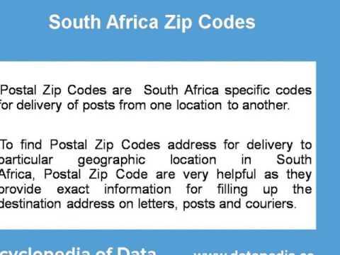 Zip Postal Code South Africa 10