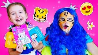 Игры одевалки и макияж - Смешные маски для Принцесс! - Видео для девочек с игрушками и куклами.