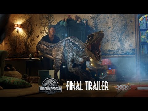 Jurassic World: Fallen Kingdom - Final Trailer [HD]: Jurassic World: Fallen Kingdom  In Theaters June 22, 2018  https://www.jurassicworld.com   It's been four years since theme park and luxury resort Jurassic World was destroyed by dinosaurs out of containment. Isla Nublar now sits abandoned by humans while the surviving dinosaurs fend for themselves in the jungles.   When the island's dormant volcano begins roaring to life, Owen (Chris Pratt) and Claire (Bryce Dallas Howard) mount a campaign to rescue the remaining dinosaurs from this extinction-level event. Owen is driven to find Blue, his lead raptor who's still missing in the wild, and Claire has grown a respect for these creatures she now makes her mission. Arriving on the unstable island as lava begins raining down, their expedition uncovers a conspiracy that could return our entire planet to a perilous order not seen since prehistoric times.  With all of the wonder, adventure and thrills synonymous with one of the most popular and successful series in cinema history, this all-new motion-picture event sees the return of favorite characters and dinosaurs—along with new breeds more awe-inspiring and terrifying than ever before. Welcome to Jurassic World: Fallen Kingdom.   Stars Pratt and Howard return alongside executive producers Steven Spielberg and Colin Trevorrow for Jurassic World: Fallen Kingdom. They are joined by co-stars James Cromwell, Ted Levine, Justice Smith, Geraldine Chaplin, Daniella Pineda, Toby Jones, Rafe Spall and Isabella Sermon, while BD Wong and Jeff Goldblum reprise their roles.   Directed by J.A. Bayona (The Impossible), the epic action-adventure is written by Jurassic World's director, Trevorrow, and its co-writer, Derek Connolly. Producers Frank Marshall and Pat Crowley once again partner with Spielberg and Trevorrow in leading the filmmakers for this stunning installment. Belén Atienza joins the team as a producer.