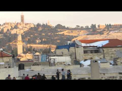 Observation on the Mount of Olives from the roofs of the Old City market (with remains of snow)