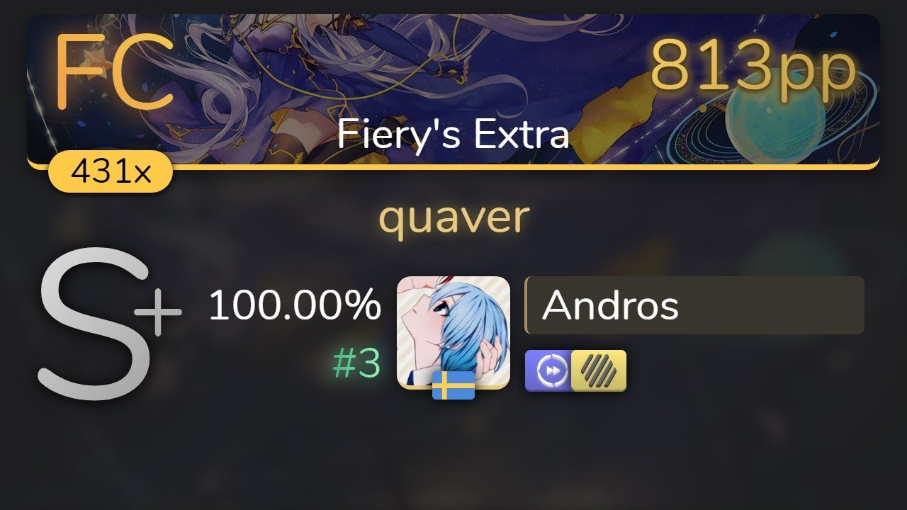 [8.73⭐] Andros | dj TAKA - quaver [Fiery's Extra] +HDDT 100.00% {#3 813pp FC} - osu!