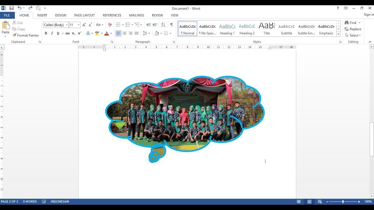 Cara Memotong Poto Crop Ke Berbagai Bentuk Pada Ms Word Youtube