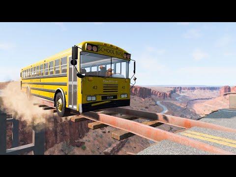TrucksVS Broken Bridge #TB2 City Driving Simulator: Heavy Truck, Cars, Bus 🚍 BeamNG.Drive